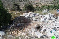 الاحتلال الإسرائيلي يهدم ورشة لبيع الحجر في بلدة  سلواد