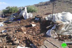 """الاحتلال الاسرائيلي يهدم مساكن وبركسات زراعية في منطقة """" ذراع عواد"""" في محافظة طوباس"""