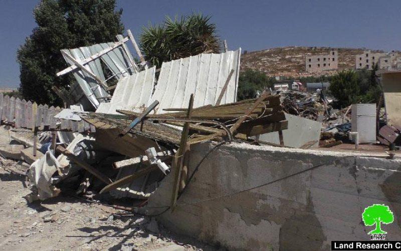 Demolition of commercial structures in the Jerusalem neighborhood of Wad Al-Dam