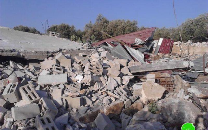 Demolition of structures in the Salfit village of Deir Ballut