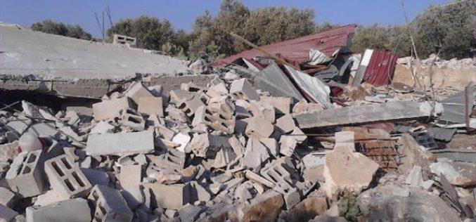 الاحتلال الاسرائيلي يهدم بركس للأغنام وغرفة زراعية في بلدة دير بلوط