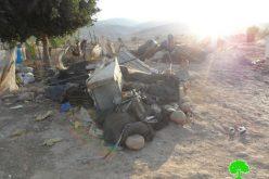 هدم مساكن وبركسات زراعية في قرية فصايل الوسطى