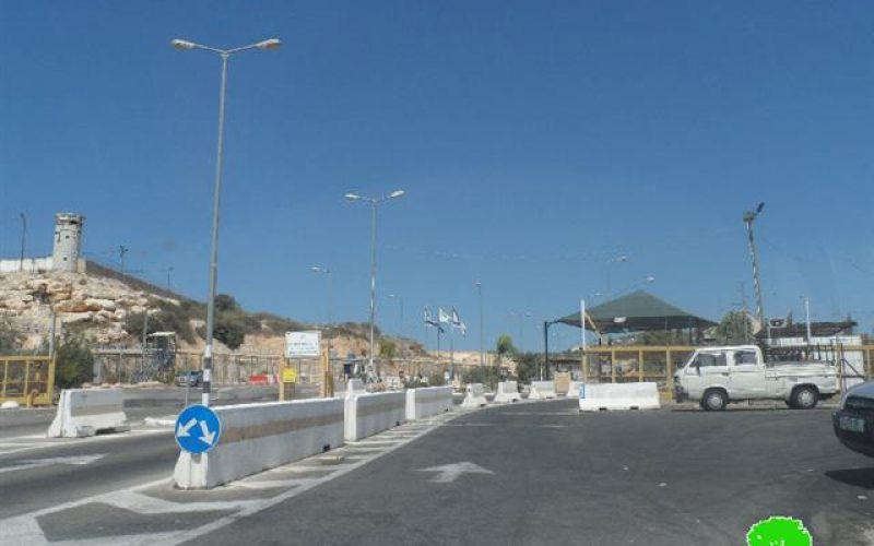 The Israeli occupation authorities demolish a number of kiosks next to Barta'a and Al- Jalama checkpoints in Jenin