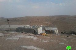 Stop-work orders on four residences in the Yatta hamlet of Al-Majaz