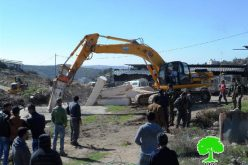 The occupation demolishes agricultural structures and water well in Hebron