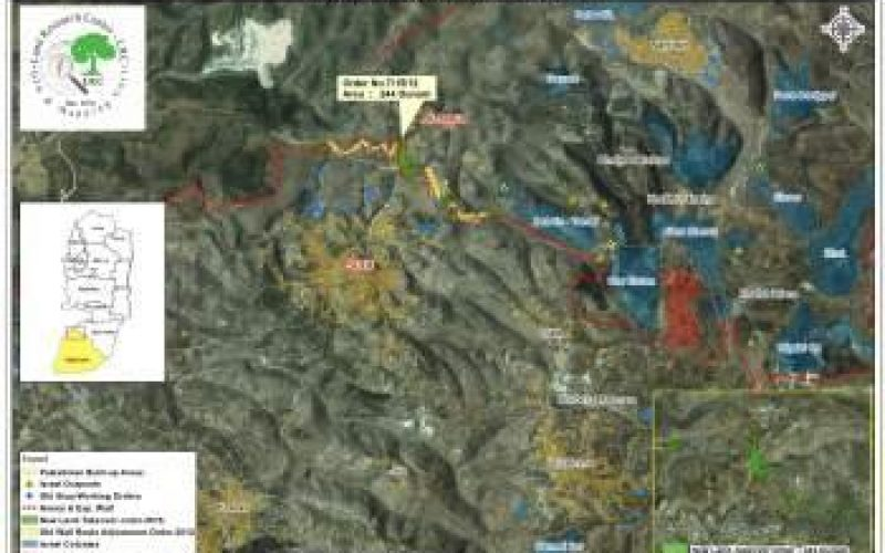 أمر عسكري بمصادرة أراضي في بلدة صوريف لصالح جدار الضم والتوسع