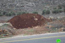 جيش الاحتلال يغلق طريق زراعي في قرية جوريش