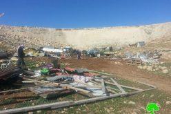 الاحتلال يهدم 6 منشآت في تجمع أبو نوار أحد التجمعات البدوية  في شرقي القدس المحتلة