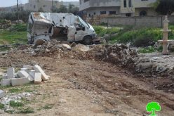 The Israeli Occupation Forces demolish three commercial stores in Ramallah