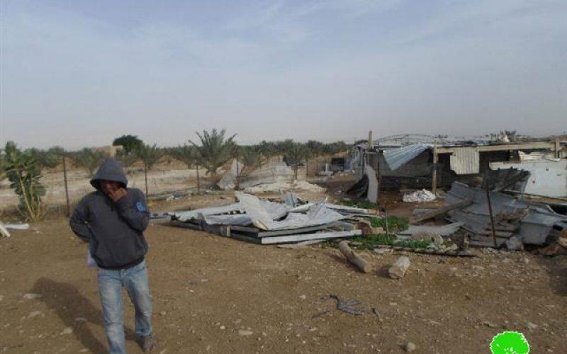 <br> دعمها الاتحاد الأوروبي ..!!!  هدم بركسات سكنية لعرب الجهالين شرق مدينة أريحا