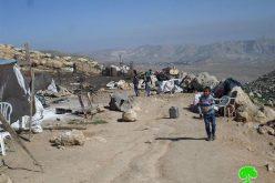 هدم تجمع عرب الزواهرة في منطقة عين الرشاش جنوب نابلس