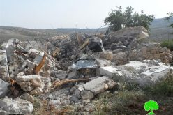 Israeli Occupation Forces demolish three houses and retaining wall in Nablus