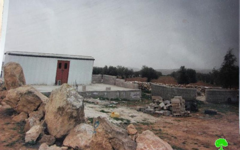 Israeli Occupation Forces demolish residential and agriculture structures in the Hebron town of Al-Samou
