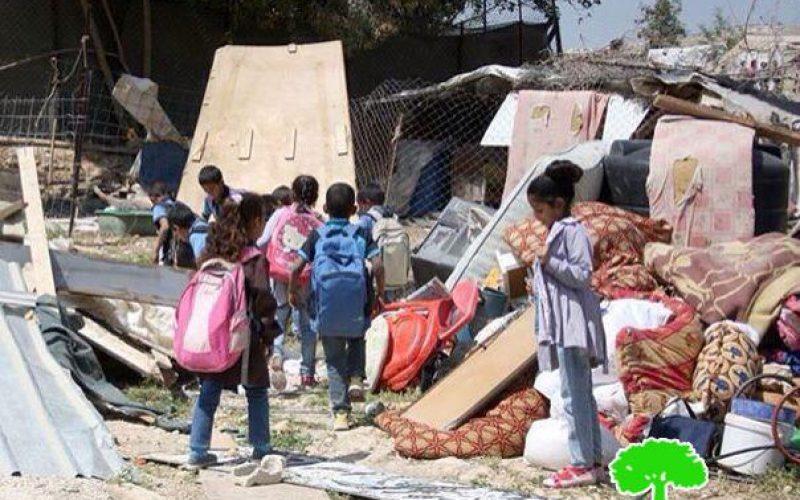 Israeli Occupation Forces demolish three residences in Al-Khan Al-Ahmar Bedouin communities