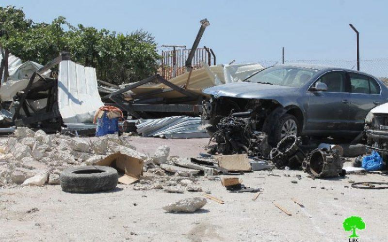 Israeli Occupation Forces demolish a car maintenance workshop in Jerusalem town of Anata