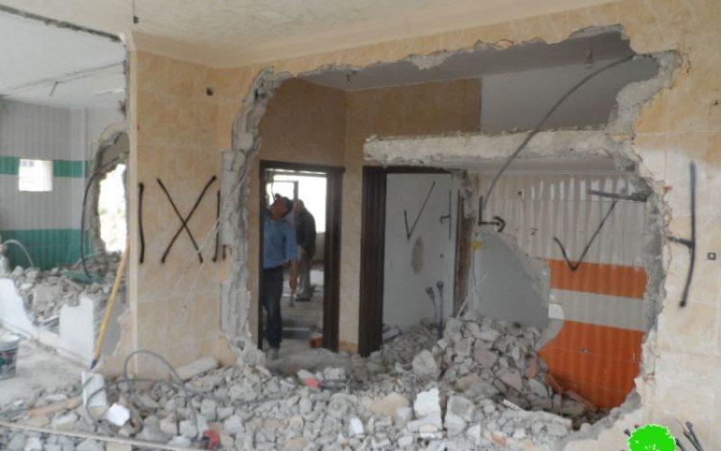 Israeli Occupation Forces demolish residence of prisoner Zaid Amer in Nablus city