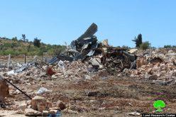 سلطات الاحتلال تهدم خربة جورة الخيل شرق سعير وتدمر معالمها بالكامل