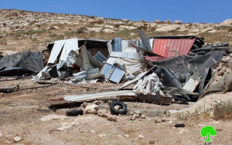 """الاحتلال يهدم منشأة زراعية في خربة"""" الرظيم"""" ببلدة السموع"""