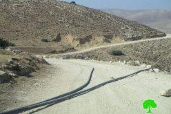 الاحتلال الإسرائيلي يدمر خط المياه الناقل في خربة يرزا