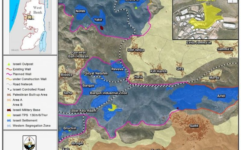 """Large scale land confiscation in Salfit Governorate<br> """"The expansion of Barqan Industrial settlement on 138 dunums of Haris village lands"""""""