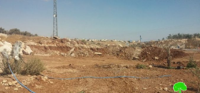 The Israeli occupation municipality demolishes a tent and ravages agricultural land in Sur Baher village in Jerusalem