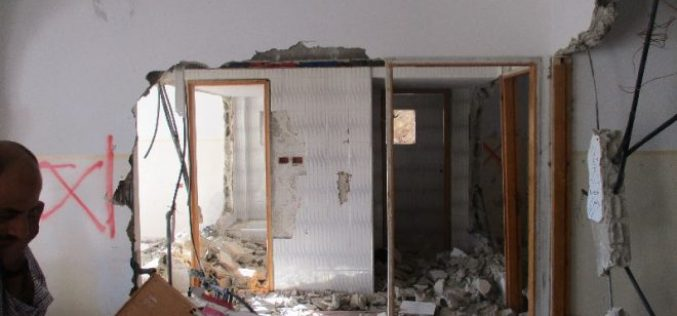 Israeli Occupation Forces demolish the house of prisoner Amjad AL-Ileiwi in Nablus city