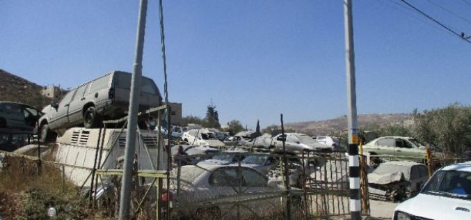 Israeli Occupation Forces demolish a store for car parts in Nablus