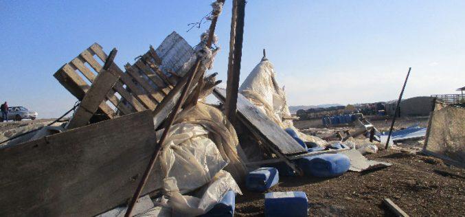 الاحتلال الاسرائيلي يهدم تجمع الدير البدوي شرق قرية عين البيضا