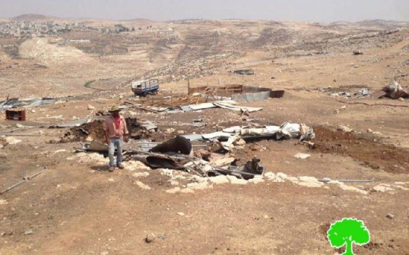 هدم غرف سكنية وحظائر للأغنام في تجمع المعازي البدوي شمال بلدة جبع