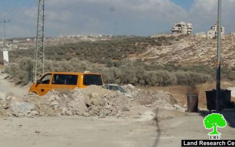 With nine closures on main and sub roads of  southern Nablus city: the Israeli occupation adds new military checkpoints