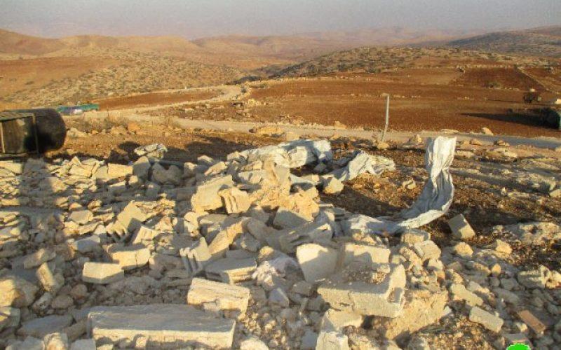 الاحتلال الإسرائيلي يهدم خياماً ومساكن زراعية في قرية العقبة