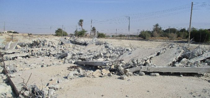 Israeli Occupation Forces demolish commercial stores in the Jericho area of Al-Auja