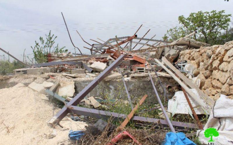الاحتلال يهدم غرفة زراعية في قرية واد رحال بمحافظة بيت لحم