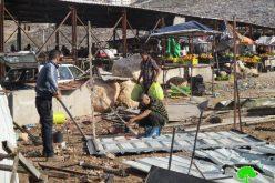 الاحتلال الاسرائيلي يهدم بسطات لبيع الخضار عند حاجز ارتاح العسكري