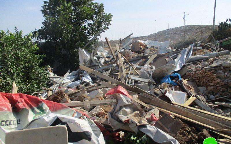 Israeli Occupation Forces demolish nine agricultural structures in Qalqiliya