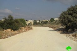 Stop-work order on a road in the Salfit town of Al-Zawiya