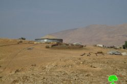Stop-work order on water pool in Palestinian Jordan Valley area of Khirbet  AL-Farisiya
