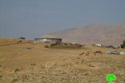 Stop-work order on water pool in Palestinian Jordan Valley area of Khirbet  AL-Farisiya