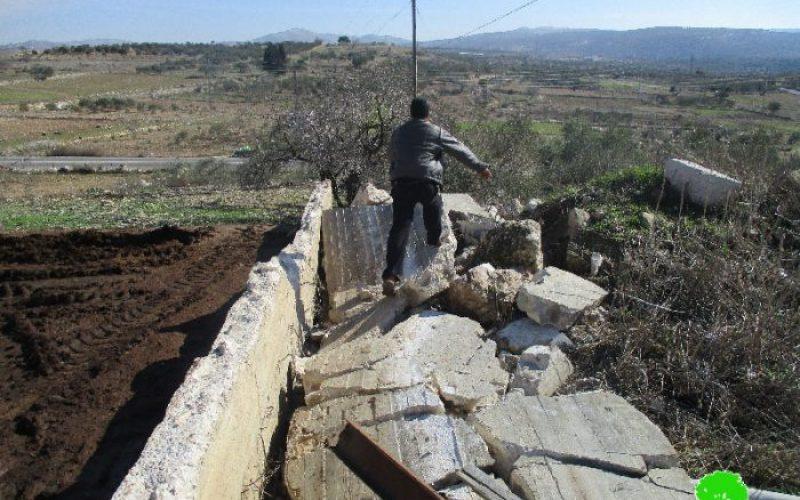 هدم مزرعة للأغنام وإخطار أخرى بالهدم في قرية جينصافوط