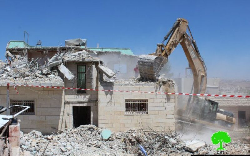 Israeli occupation forces demolish two residences in the Hebron town of Yatta on security claims