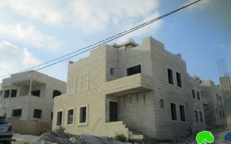 Stop-work order on under-construction residence in Nablus city