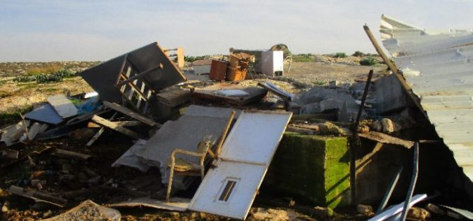 Israeli Occupation Forces demolish structures in Khirbet Al-Tuwayyel in Nablus governorate