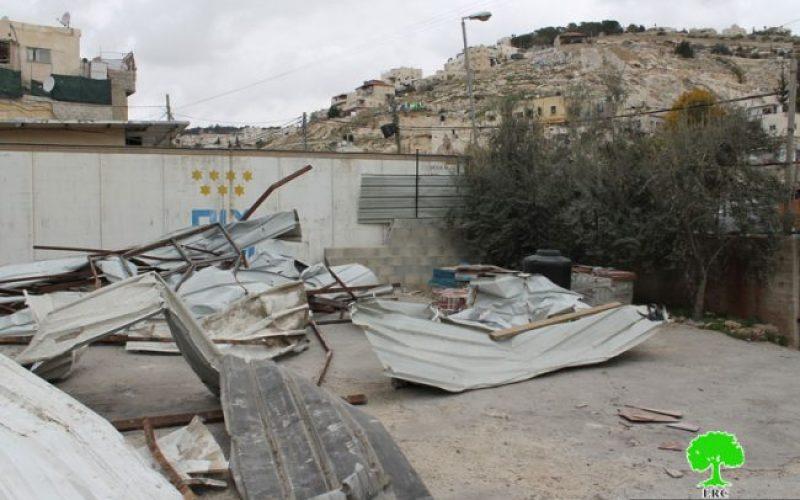 هدم منشأة تجارية في حي واد قدوم في سلوان جنوب المسجد الأقصى بحجة البناء بدون ترخيص