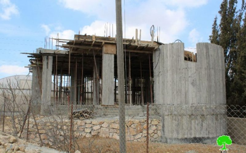 Stop-work orders on four residences in Beit Ummar village
