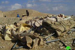هدم خيام سكنية وزراعية في تجمع الجهالين في منطقة تلال ابو العلايق غرب أريحا
