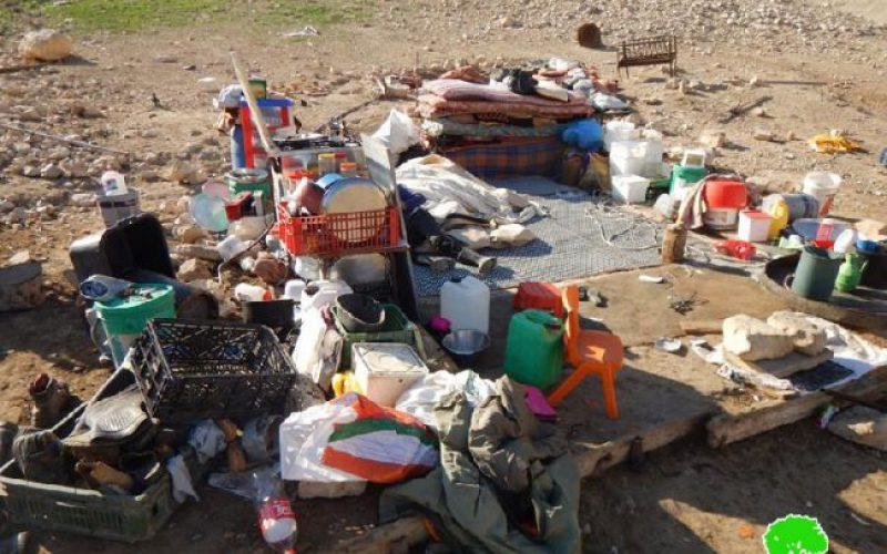هدم مساكن وخيام زراعية للمرة العاشرة في خربة كرزلية