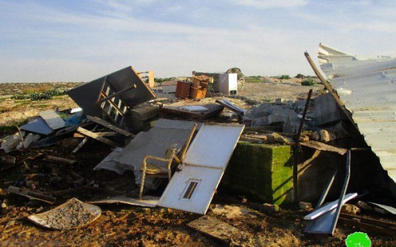 Israeli Occupation Forces demolish structures in Khirbet Al-Tuwayyel in Nablus governorate