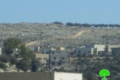 Stop-work orders on residences and agricultural road in Salfit town of Bruqin