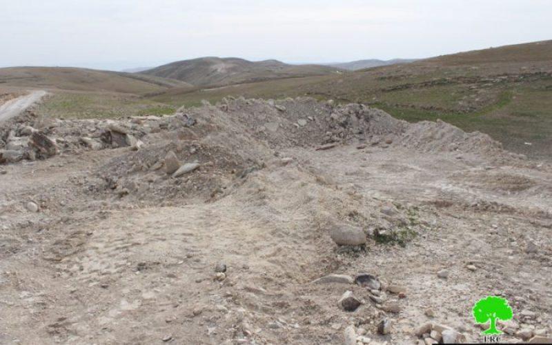 هدم 7 آبار زراعية و 4 بركسات في بلدة تقوع / محافظة بيت لحم