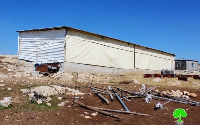 Stop-work orders on agricultural structures in Ghuwein hamlet in Hebron governorate